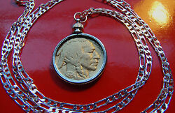 Gold Plated Buffalo Nickel Bezel On A 28 925 Sterling Silver Chain