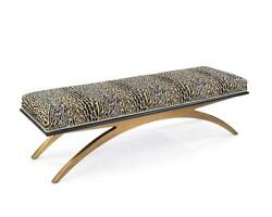 60 W Cheetah Print Dining Bench Fabric Arched Base In Antique Gold Modern