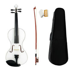 White Pearwood 44 Size Acoustic Violin Fiddle with Storage Case Bow Rosin