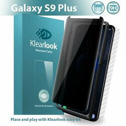 Galaxy S9 Plus Privacy Tempered Glass Screen Protector Case Friendly with [Easy