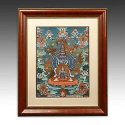 Thangka Devotional Painting Pigment Cloth Tibet Buddhism Early 20th C. Framed