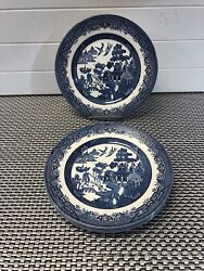 4 Willow Broadhurst Staffordshire Ironstone Plates Made In England 9 1/2andrdquo.