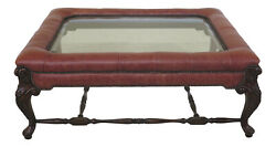 30763ec Large Leather And Glass Top Mahogany Coffee Or Cocktail Table