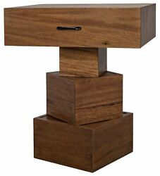 28 T Set Of 2 Table Stacked Block Base With Drawer Solid Walnut Dark Finish