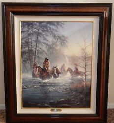 Jack Terry Painting Hand Painted Canvas Print Cowboy Slow And Easy Horses 8/750