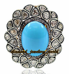 Vintage 3.10cts Rose Antique Cut Diamond Turquoise Silver Cocktails Ring Jewelry