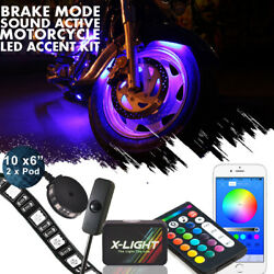12pc Motorcycle H.d. Led Neon Under Glow Lights Strip Kit W/music Active Andswitch