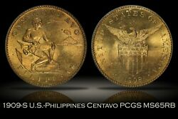 1909-s U.s.-philippines One Centavo Pcgs Ms65rb Nearly Full Red Key Date Uspi 1c