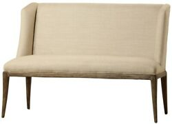52 W Carisio Bench Full Support High Back Weathered Wooden Frame Modern