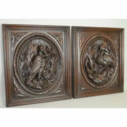 Stunning Antique Pair Carved Oak Wood French Hunt Wall Plaque Game Bird Panels