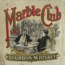 Vintage Marble Club Bourbon Whiskey Label Ad Reproduction Steel Sign Bar Decor