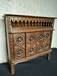 Vintage French Breton Miniature Furniture Hand Sculpted Wood Closed Bed