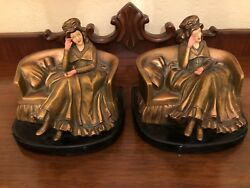 Pair Of Fine Antique Art Deco Gold Gilt Enameled Bookends Ladies On Couch