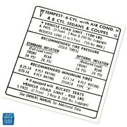 1968 Gto Lemans Tire Pressure Specifications Decal Ea