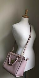 Pre Owned Pink MICHAEL KORS Double Handle Coated Canvas Purse Bag Gold Hardware $87.80