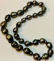 Natural Color Cultured Black Tahitian Pearl Necklace