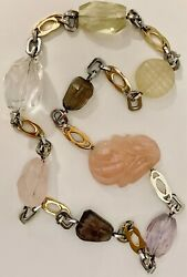 Stainless And Gold Plated Gemstone Interchangeable Clasp Necklace