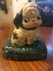 antique Boston Terrier French Bulldog On Pillow With Bee Chalkware