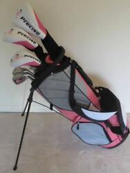 New Ladies Golf Club Set Driver Wood Hybrid Irons Putter And Stand Pink Bag Womens