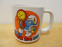 The Smurfs Is It Break Time Yet Coffee Cup/mug Wallace And Berrie, 1981