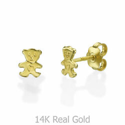 Doll Earrings 14k Solid Gold Real Children Studs Delicate Gifts For Girls Kids