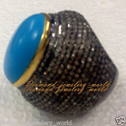 Victorian 8.09ct Rose Cut Diamond Turquoise Studded Silver Cocktail Ring Jewelry