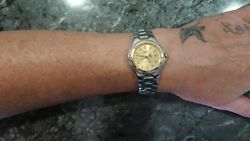 Very Rare Longines Conquest Sport L3.112.3 Womens Two Tone Gold Plated Watch