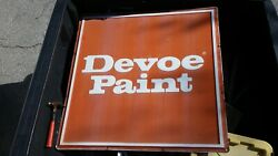 Vintage Orange Devoe Paint Hardware Store Metal Sign 47.5