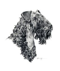 KERRY BLUE TERRIER Dog Pencil Drawing 13 X 17 LARGE Art Print by DJ Rogers