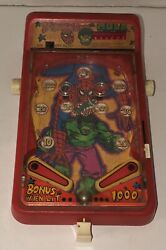 Vintage Spiderman And Hulk Mini Toy Pinball 1979 Castle Toy Company Working Rare