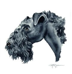 KERRY BLUE TERRIER Dog Painting 13 X 17 Art Print by Artist DJ Rogers wCOA