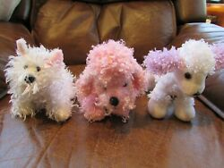 Lot 3 Dogs Pink Poodle White Terrier GANZ Lil' Kinz Aurora Small Stuffed Toys
