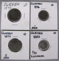 1853 - 1877 Sweden 4 Coin Set In Vf Condition Swedish Coins