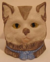 Old 1920s German Bisque Cat Head Fairy Lamp Night Light W/ Glowing Glass Eyes