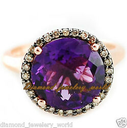 Vintage Style 0.90cts Pave Rose Cut Diamond Amethyst Studded Silver Ring Jewelry
