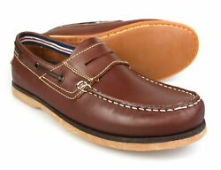 Catesby Brown Leather Mens Slip On Boat Shoes 4502e Free Uk Pandp