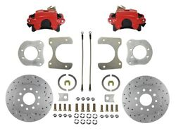Jeep Rear Disc Brake Conversion Kit With Red Calipers And Maxgrip Xds Rotors