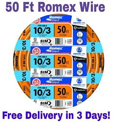 10/3 W/ground Romex Indoor Electrical Wire 50' Feet All Lengths Available