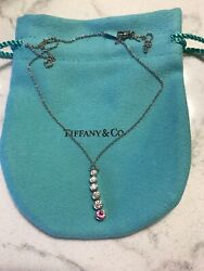 And Co Jazz Graduated Drop Pink Sapphire And Diamond Pendant Necklace