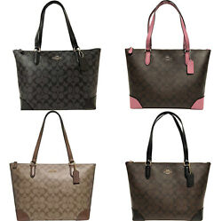 Coach F29208 Top Zip City Tote Signature Handbag Khaki Brown Pink Black