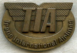 Late 1960s Agent Hat Badge For Trans International Airlines Tia