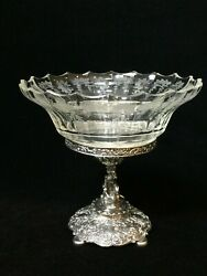 Antique 800 Silver Germany Centerpiece With Glass Bowl 7 1/4 Tall 7 3/4 Wide