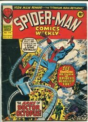 Spider-man Comics Weekly 114-1975-u.k. Issue-thor-dr Octopus-kirby-iron Man-vg