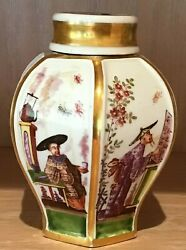 Bottger Fine Porcelain 6-Sided Tea Caddy with Gold Trim and Asian Designs