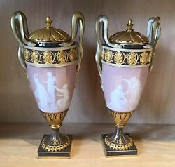 Meissen Porcelain Pair Of Pate Sur Pate Vases With Snake Handles
