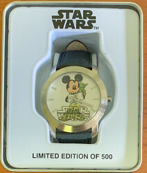 2009 Star Wars Watch Yoda And Mickey Mouse As Skywalker New In Box 1 Of 500