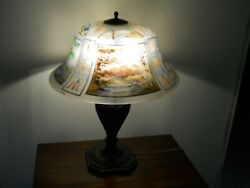 PAIRPOINT LAMP w REVERSE PAINTED EXETER SHADE in RARE FOUR SEASONS PATTERN EXC!