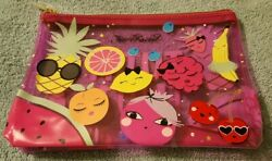 Too Faced Tutti Frutti Zip Top Clear Pink Cosmetic Vinyl Makeup Bag NEW $14.99