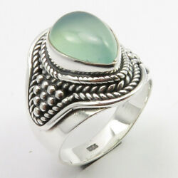 925 Pure Sterling Silver Original Aqua Chalcedony Ring Size 5.75 New Jewelry