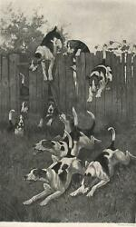 ANTIQUE RUNNING TERRIER DOGS HUNTING HUNT HUNTER RUN JUMPING FENCE GRASS PRINT